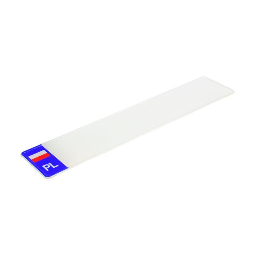 polska tablica rejestracyjna z biało czerwoną flagą