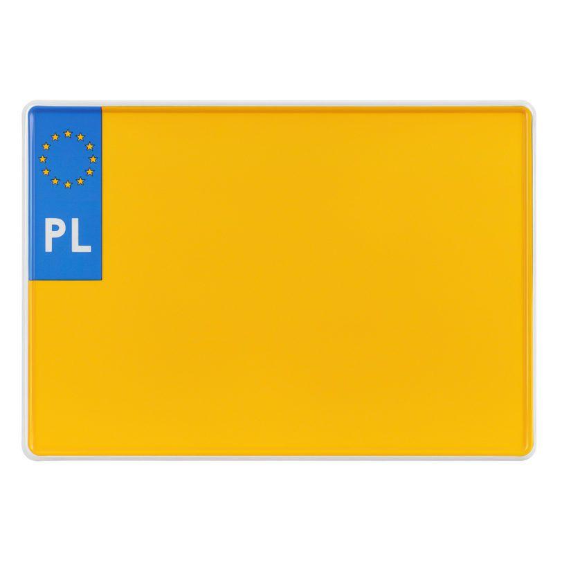 tablica rejestracyjna zabytkowa polska kwadratowa dwurzędowa żółta 305x214 mm