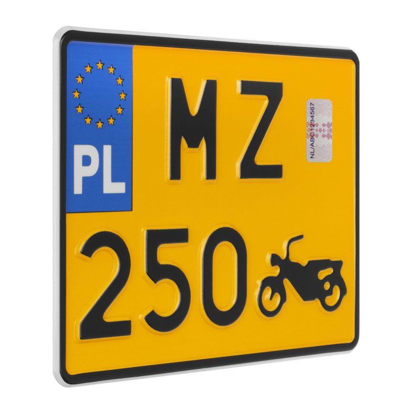 tablica rejestracyjna motocyklowa polska zabytkowa żółta MZ 250
