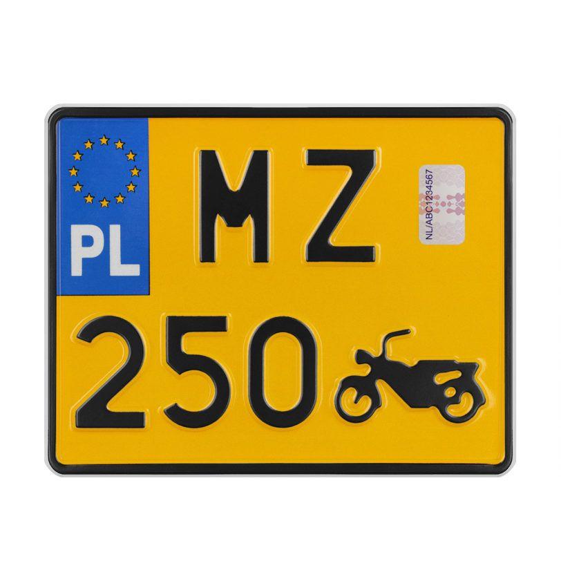 motocykl tablica rejestracyjna